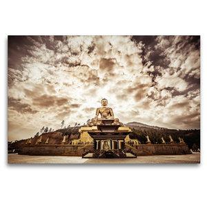 Premium Textil-Leinwand 120 cm x 80 cm quer Große Buddha Statue