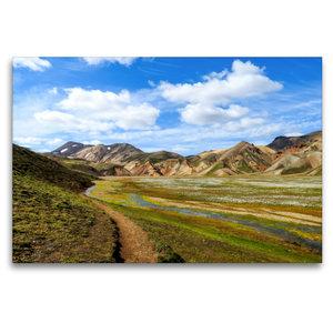 Premium Textil-Leinwand 120 cm x 80 cm quer Laugarvegur-Trail Is
