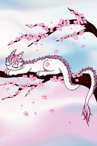 Premium Textil-Leinwand 50 cm x 75 cm hoch Sakura Drache