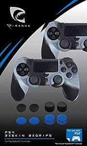 PIRANHA PS4 PIRANHA PS4 2xSKIN 4xGRIPS, 2 Schutzhüllen und 8 Thu