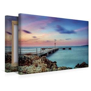 Premium Textil-Leinwand 45 cm x 30 cm quer Steg auf Mallorca