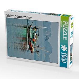 Fischerboot in der Ha Long Bucht 1000 Teile Puzzle hoch