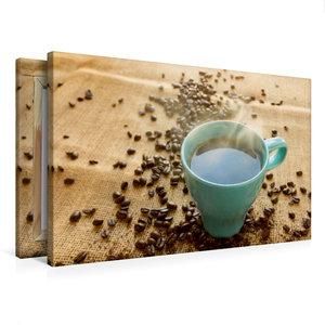 Premium Textil-Leinwand 75 cm x 50 cm quer Kaffee türkis