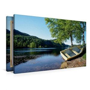 Premium Textil-Leinwand 90 cm x 60 cm quer Ruderboot am Ufer