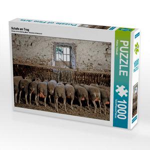CALVENDO Puzzle Schafe am Trog 1000 Teile Lege-Größe 64 x 48 cm