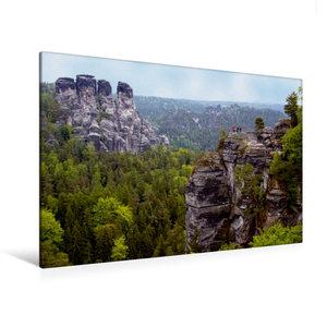 Premium Textil-Leinwand 120 cm x 80 cm quer Blick von der Bastei