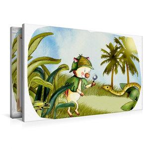 Premium Textil-Leinwand 90 cm x 60 cm quer Wildschweinchen erkun