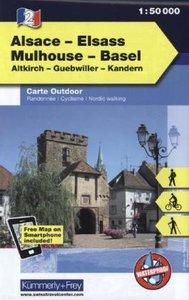 KuF Elsass / Vogesen Outdoorkarte 02 Elsass - Mulhouse - Basel 1