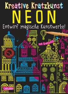 Kreative Kratzkunst: Neon: Set mit 10 Kratzbildern, Anleitungsbu