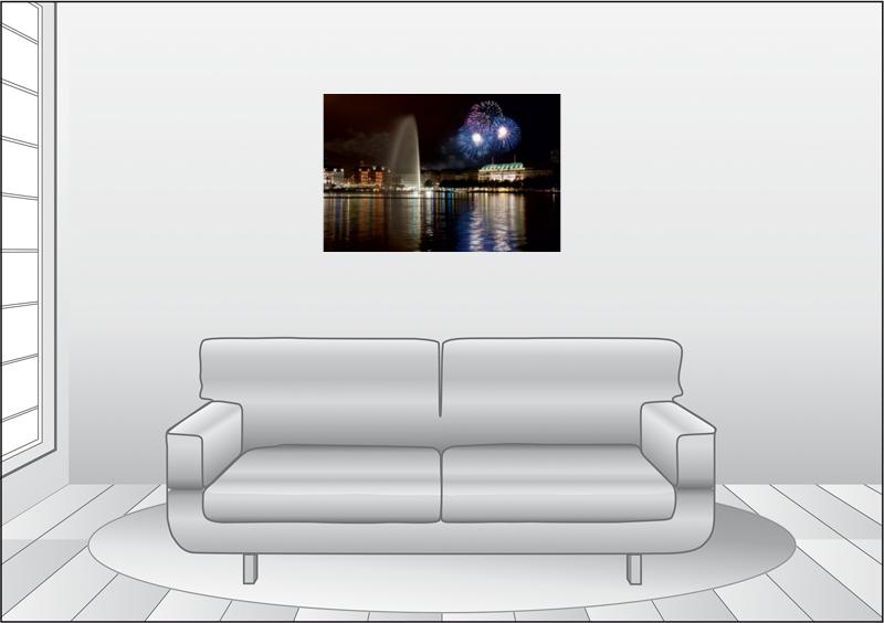 Premium Textil-Leinwand 90 cm x 60 cm quer Dom Feuerwerk - zum Schließen ins Bild klicken