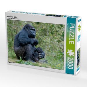 Gorilla mit Baby 2000 Teile Puzzle quer
