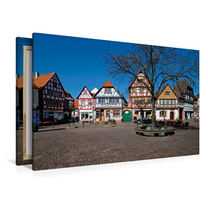 Premium Textil-Leinwand 120 cm x 80 cm quer Marktplatz Seligenst