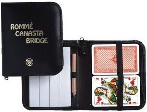 Rommé / Canasta / Bridge. Französisches Bild. Im Lederfaser-Etui - zum Schließen ins Bild klicken