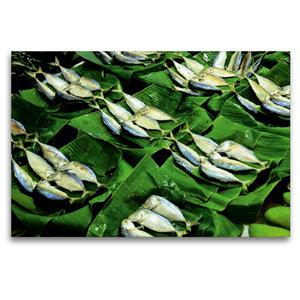 Premium Textil-Leinwand 120 cm x 80 cm quer Fisch auf dem Markt