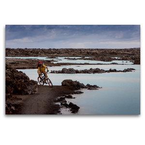 Premium Textil-Leinwand 120 cm x 80 cm quer Bike Abenteuer Islan