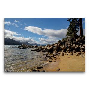 Premium Textil-Leinwand 75 cm x 50 cm quer Sand Harbor Beach / L