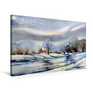 Premium Textil-Leinwand 75 cm x 50 cm quer Winter am Fluß