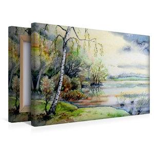 Premium Textil-Leinwand 45 cm x 30 cm quer Frühling am See