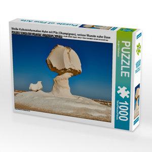 Weiße Kalksteinformation Huhn mit Pilz (Champignon), weisse Wues