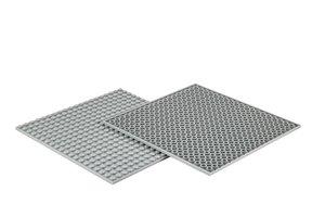 4x Bauplatte fenstergrau 20x20 Noppen, 16x16xcm - Basis für Spie