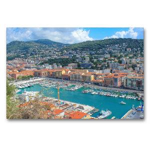 Premium Textil-Leinwand 90 cm x 60 cm quer Hafenbecken von Nizza