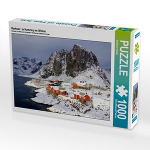 Rorbuer in Hamnoy im Winter 1000 Teile Puzzle quer