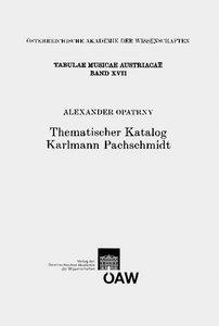 Thematischer Katalog Karlmann Pachschmidt