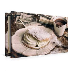 Premium Textil-Leinwand 90 cm x 60 cm quer Windbeutel und Kakao