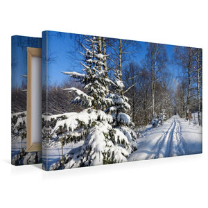 Premium Textil-Leinwand 45 cm x 30 cm quer Winter im Erzgebirge