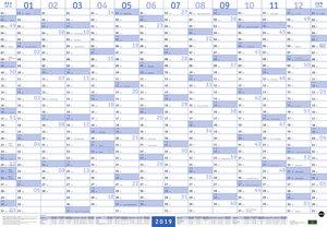 Mega-Posterplaner, blau - Kalender 2019