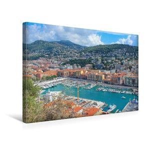 Premium Textil-Leinwand 45 cm x 30 cm quer Hafenbecken von Nizza