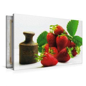 Premium Textil-Leinwand 90 cm x 60 cm quer Frische Erdbeeren