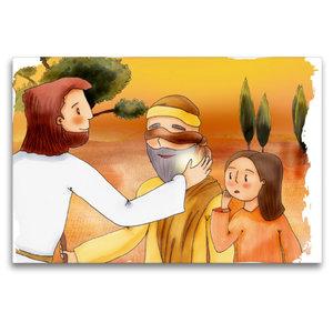 Premium Textil-Leinwand 120 cm x 80 cm quer Jesus heilt einen bl