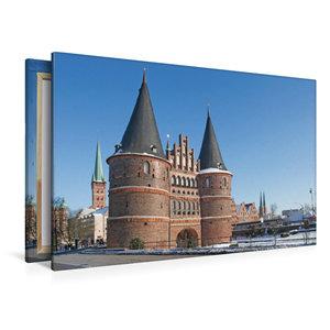 Premium Textil-Leinwand 120 cm x 80 cm quer Holstentor Lübeck