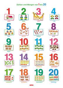 Fragenbär-Lernposter: Zahlen und Mengen von 1 bis 20, M 50 x 70