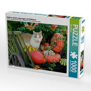 Katze in einem Leiterwagen mit Kürbissen 1000 Teile Puzzle quer