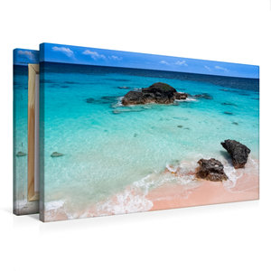 Premium Textil-Leinwand 75 cm x 50 cm quer Pink Coral Beach - Be