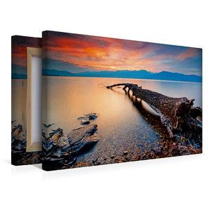 Premium Textil-Leinwand 45 cm x 30 cm quer Abend über dem Lago M