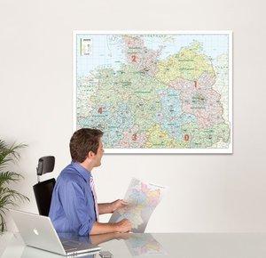 Bacher Orga-Karte Deutschland Nord 1 : 500 000. Poster-Karte bes