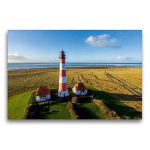 Premium Textil-Leinwand 75 cm x 50 cm quer Leuchtturm Westerheve