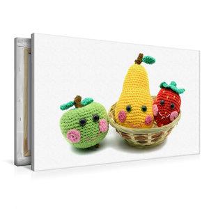 Premium Textil-Leinwand 90 cm x 60 cm quer Gehäkelte süße Frücht