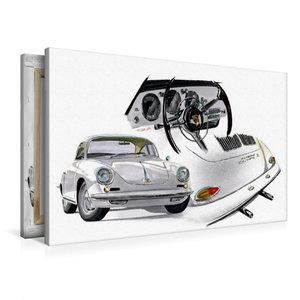 Premium Textil-Leinwand 90 cm x 60 cm quer Porsche 356 Carrera