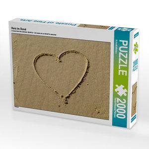 Herz im Sand 2000 Teile Puzzle quer