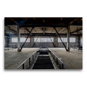 Premium Textil-Leinwand 75 cm x 50 cm quer Halle mit Förderbände