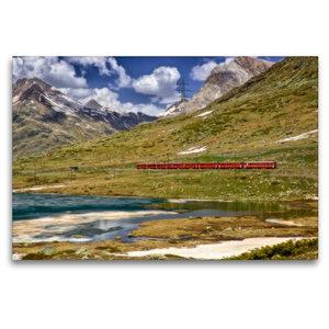 Premium Textil-Leinwand 120 cm x 80 cm quer Der rote Zug