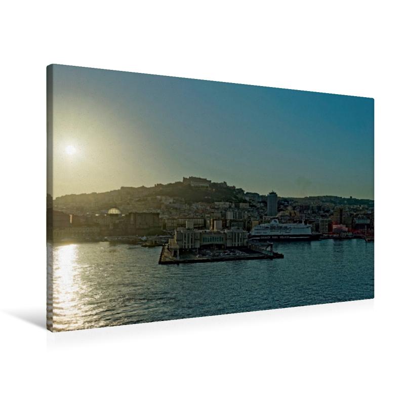 Premium Textil-Leinwand 90 cm x 60 cm quer Neapel Hafen - zum Schließen ins Bild klicken