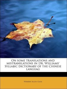 On some translations and mistranslations in Dr. Williams' Syllab