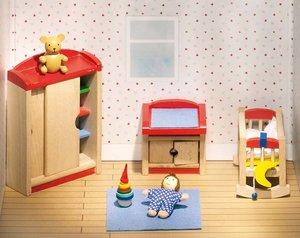 Goki 51905 - Puppenmöbel Kinderzimmer für Puppenhaus, 12-teilig
