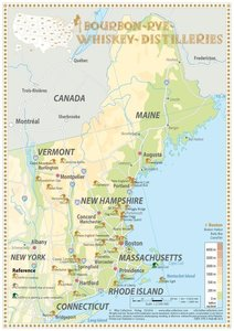 Bourbon-Rye-Whiskey Distilleries in Maine-Vermont - Tasting Map