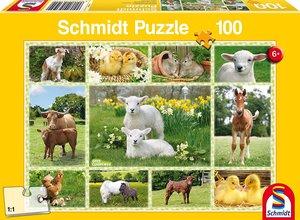 Schmidt 56194 - Tierkinder auf Bauernhof Puzzles, 100 Teile